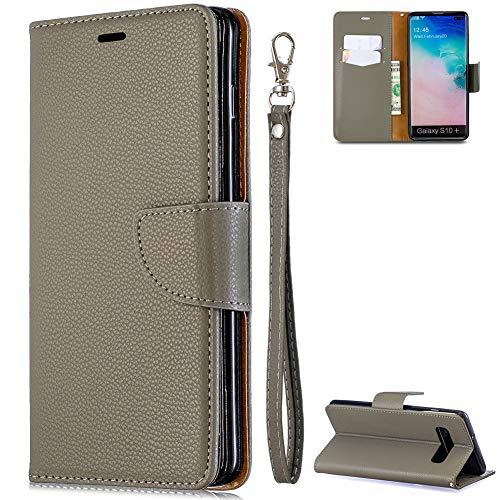 ZCXG Kompatibel mit Handyhülle Samsung Galaxy S10 Plus Hülle Grau Leder Magnet Mädchen Junge Paar Handyhülle Schwarz Silikon Schutzhülle mit Kartenfächer Dünn Tasche Flip Wallet Cover Bumper Case -