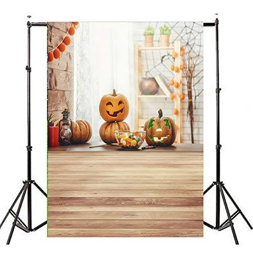 iYmitz Halloween Kulissen Kürbis Vinyl 3x5FT Laterne Hintergrund Fotografie Studio(L,90cmx150cm)