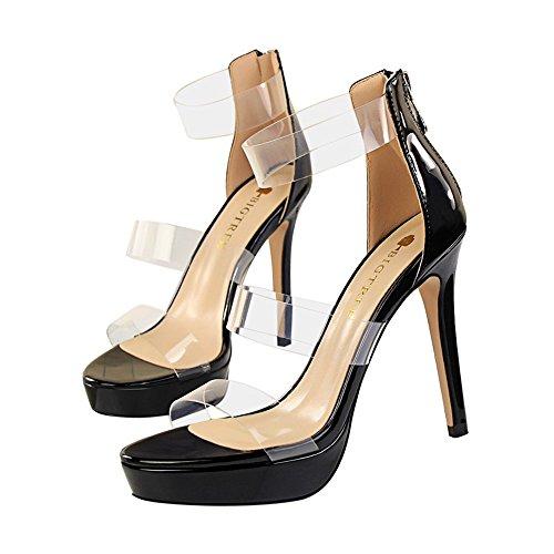 z&dw Chaussures élégantes de chaussure sexy de plate-forme imperméable à la personnalité creuse transparent un mot avec des sandales Noir