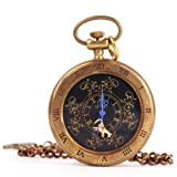 Yesurprise Taschenuhr Halb Automatikuhr Herren Handaufzug Mechanisch Uhr Pocket Watch Geschenk Gift F054