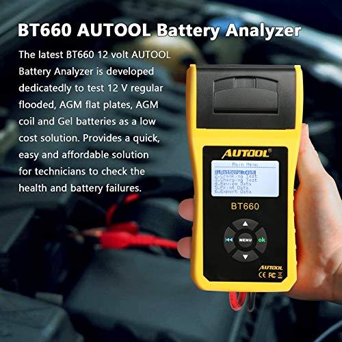 Autool - Tester per batterie per Auto, 6 V/12 V/24 V, Tester per la Salute Diretto, Sistema di avviamento e Sistema di Ricarica