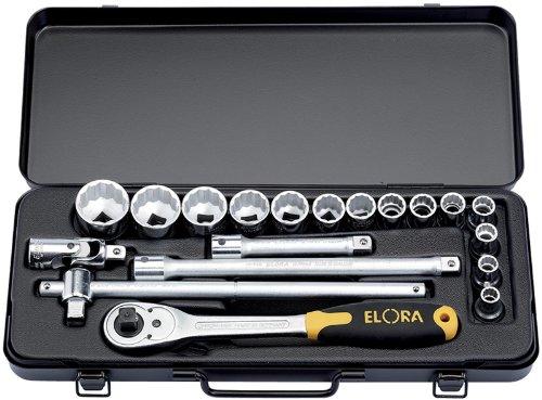 19 Stücke 1.27 cm Vierkantantrieb metrisch ELORA Steckschlüsselsatz – professionelle Qualität, hergestellt aus Chrom vanadium Stahl geschmiedet, vergütet und für besseren Korrosionsschutz zusätzlich verchromt.