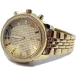 Men's 3D Face Faux Diamond Bezel Gold Plated Metal Strap HipHop Bling Watch