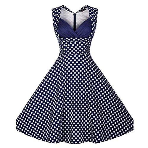 Ghope Robe Années 50's Vintage 1950's Audrey Hepburn Pin-Up Robe De Soirée Cocktail Sans Manche Bleu foncé