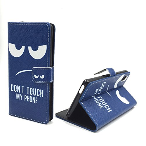 König-Shop Handy-Hülle Kompatibel mit ZTE Nubia Z9 Mini Schutz-Case Flip-Cover Klapp-Tasche Book-Style Wallet Motiv - Dont Touch My Phone
