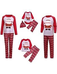 421243816a Mambain Pigiama Natalizio, Pigiami Tute Due Pezzi Pantaloni + Maglietta  Babbo Natale Stampe Bambino Donna