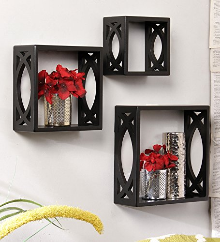 Onlineshoppee Wall Shelf, Set of 3 (Black)