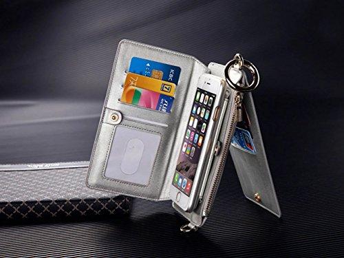 Vandot 3 in1 Reißverschluss Viele Karte Card Slot PU Handtasche für iPhone 6 4.7 Zoll Leder Wallet Magnet Case Hülle Brieftasche Luxus Flip Business Zipper Tasche Holster Loch Shell Schutz Bag Etui +  Weiß
