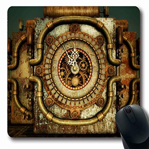 Luancrop Mauspads für Computer Retro Orange Clock Elfundfünfzig Steampunk Cypher Vintage Red Clockwork Fantasy Zylinderschraube rutschfeste Oblong Gaming Mouse Pad
