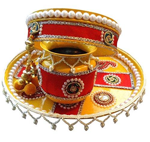 Unique Arts & Interiors Beautiful Karwa Chauth Yellow&Red Puja Thali Set