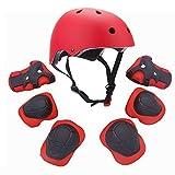 Set di attrezzature sportive protettive per bambini, comprende casco, gomitiere, ginocchiere e polsiere di sicurezza imbottite, ideali per pattini, bicicletta, bici BMX, skateboard, e attività all'aperto, Red
