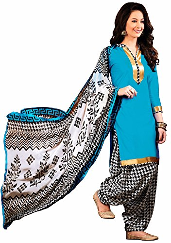 EthnicJunction Women's Cotton Dress Material (EJ1097-103_Free Size_Blue)