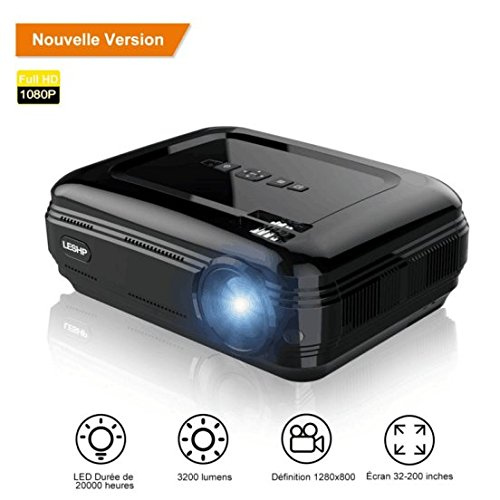 Private, Family, leshp HD 1080P HD 3200 Lumens LED Mini Projector LCD Projector Cinema Theater Portable Projector Support 1080P/USB/VGA/SD/HDMI for Xbox/iPhone/Smartphone/PC