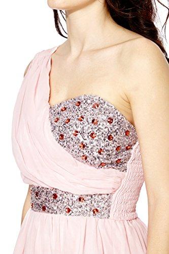 Femmes Robe Bal Strass Ornementé Paillette Diamant Robe soirée Rose
