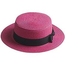 b40f8d8e1cd19 Boater Hat Sombrero de paja para mujer Bowknot Round Flat Top Brim Sombrero  de paja Summer