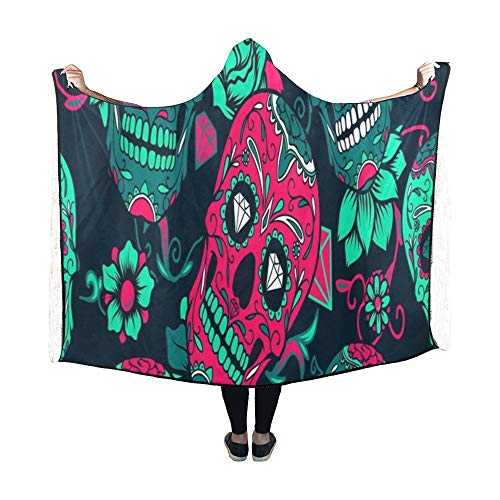Art Frau Kostüm Pop - JOCHUAN Mit Kapuze Decke Day Dead Bunte Sugar Skull Floral Decke 60 x 50 Zoll Comfotable mit Kapuze Throw Wrap