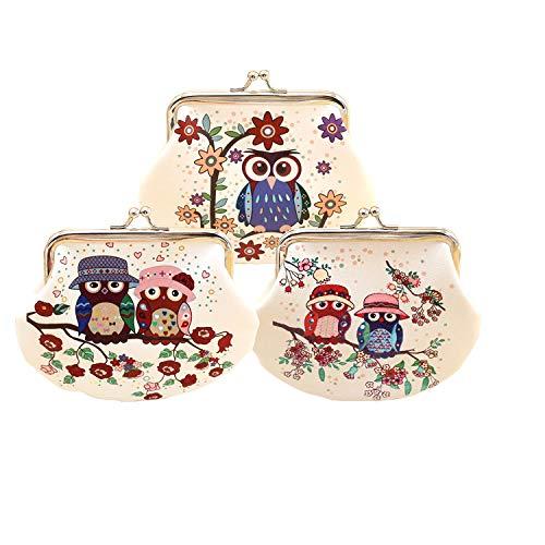 3pcs Cute Cartoon Owl Coin Purse Mini billetera mujer/Bolso