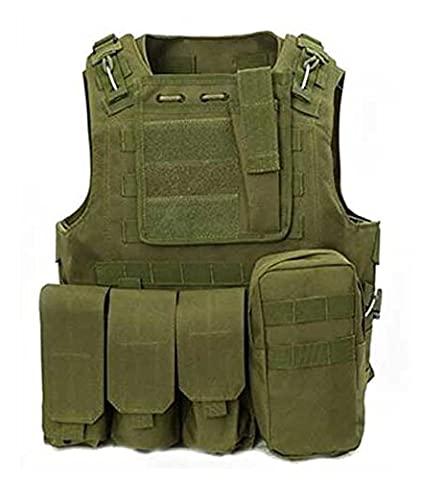 WorldShopping4U Military Army Airsoft Assault Hunting FSBE Style Carrier MOLLE Combat Vest (OD Green)