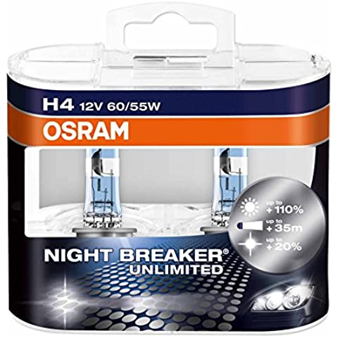 Osram 64193 Night Breaker Unlimited Lámpara Halógena de Faros, P43t, 60/55 W, 12 V, 2 Unidades