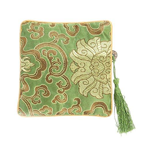 Chinesische Gestickte Tasche (Tinksky Chinesische Silk Schmuck Münzen Tasche Tasche Brokat gestickte Quaste Zipper Geldbörse (hellgrün))