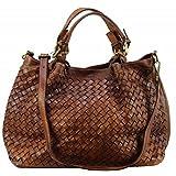 BZNA Bag Rene cognac Italy Designer Damen Handtasche Schultertasche Tasche Schafsleder Shopper Neu