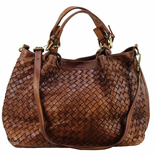 BZNA Bag Rene cognac Italy Designer Damen Handtasche Schultertasche Tasche Schafsleder Shopper Neu -
