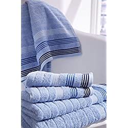 Catherine Lansfield - Toalla de baño (90 x 140 cm, 100% algodón), diseño de Rayas, Color Azul