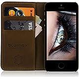 Blumax Apple iPhone 5/5s/SE Ultra-Slim Echtleder Flip-Case im Vintage-Look ohne Magnet