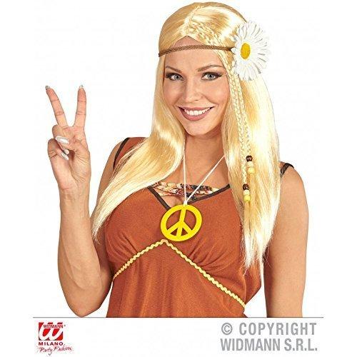 Hippie Langhaar Perücke Kunsthaar blond mit Margeritenstirnband als Hippiekostüm Zubehör / Flower Power Kostüm / 80er Jahre