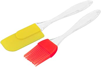 Hua You Silicone Spatula and Pastry Brush Set for Cooking, Multicolour, Medium