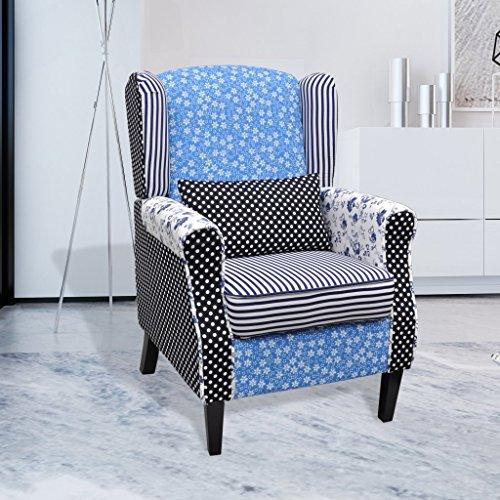 Relaxsessel vidaXL Blumen Blau & Weiß - 2