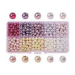 Idea Regalo - PandaHall Elite 600PCS Perline Vetro Perla Rotonde Perla Vetro Perline Colorate 6mm di Diametro 10 Colori 60PCS/ Scompartimento 1