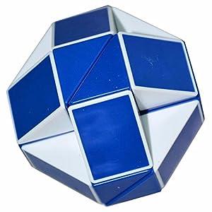Coolzon® Serpente Magico Righello Snake Puzzle Cubo Speciale Speed Magic Cube di 24 Parti,Bianco (Blu)