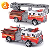 "Fire Engine Toy Set, 2 Pack 5"" Metal Die-cast Fire Trucks with Pull Back Friction and Extending Ladder for Boy and Girl"