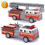 Think Wing Camion Pompieri Giocattolo, Macchinine 5 Pollici Diecast per Bambini Camion dei Pompieri e Camion Scala per Ragazzo e Ragazza (2 Pezzi)