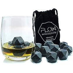FLOW Barware Lot de 9 pierres à whisky polies réutilisables en forme de diamant en granit - Cubes de boissons pour whisky Scotch sur les rochers Cadeau avec pochette de rangement