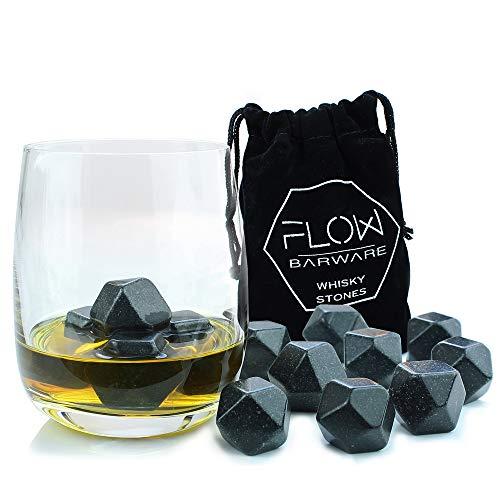 FLOW Barware Whisky-Steine, poliert, wiederverwendbar, Diamant-Form, Granit, Eiswürfelsteine - Getränkekühler Würfel für Whiskey Scotch on The Rocks Geschenk mit Aufbewahrungstasche von 9 Stück -