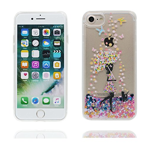 "iPhone 7 Coque, Skin Hard Clear étui iPhone 7, talon hauts Design Glitter Bling Sparkles Shinny Flowing Apple iPhone 7 Case Cover 4.7"", résistant aux chocs Umbrella Fille Birds"