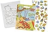 Unbekannt Malbuch / Malblock mit 45 Stickern - Disney Winnie the Pooh - Malvorlagen Aufkleber Ausmalbuch Puuh