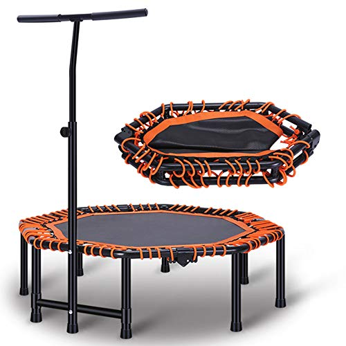 Faltbare Trampolin, Mini-Trampolin, Indoor Mini Fitness-Trampolin Mit Griff, 2-In-1 Lean-Aerobic-Übung Rebounder - 48 Zoll,45in
