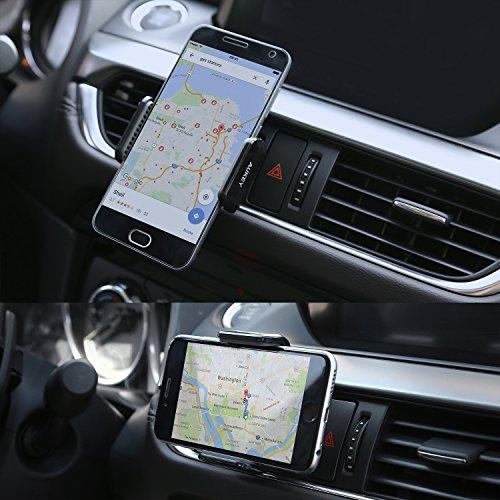 AUKEY Soporte Teléfono Coche de Rejillas de Ventilación Rotación de 360° Soporte Movil Coche para iPhone 7/6s/6/5s/5, Samsung Galaxy Note 8, LG y Otros Smartphone hasta 5,5 Pulgadas - Negro
