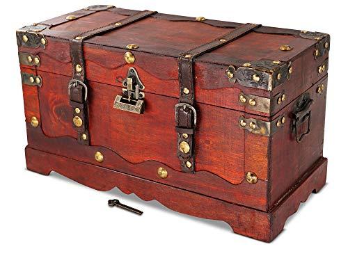 Brynnberg Schatztruhe groß mit Schloss 39x18x21cm Holztruhe Schatzkiste Piraten Schatzsuche Holz Kolonialstil Piratentruhe Geldtruhe
