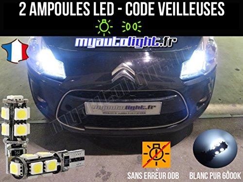 MyAutoLight - Pack Ampoules Voiture Pour C3 II - Veilleuses - Blanc Pur Effet Xénon