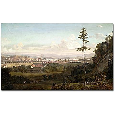 Hyper-drive Impresión de la lona de la ciudad y del árbol de la decoración del hogar imagen del arte del cuadro sin marco, 30X16