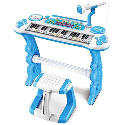 Preisvergleich Produktbild Kinderpiano XL in blau mit Hocker und Mikrofon