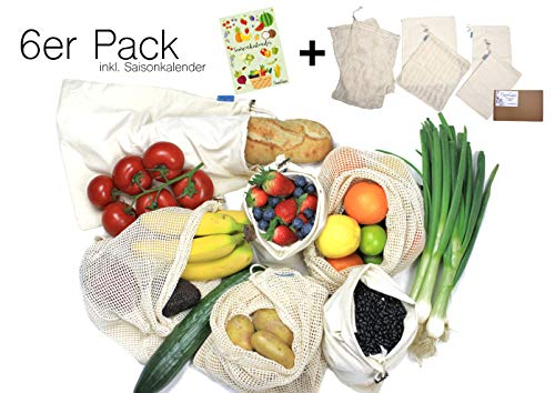 GreenQueen 6er Set Gemüsenetz Baumwolle - Gemüsebeutel für plastikfreien Einkauf - Zero Waste und wiederverwendbar (6)
