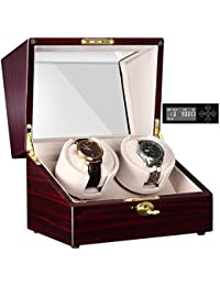 [100% hecho a mano] Generic Watch Winder Caja Estuche Reloj Automático Doble Almohada con Mabuchi Motor Silencioso Pantalla LCD Digital