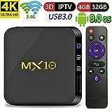 Android 9.0 TV Box ,Yongf 4GB DRR3 32GB MX10 Smart TV Box Quad-Core 4K Full HD Set Top Box Support HDMI2.0/ 100M Ethernet/ 2.4G WiFi/ USB 3.0 4K 3D Smart TV Box
