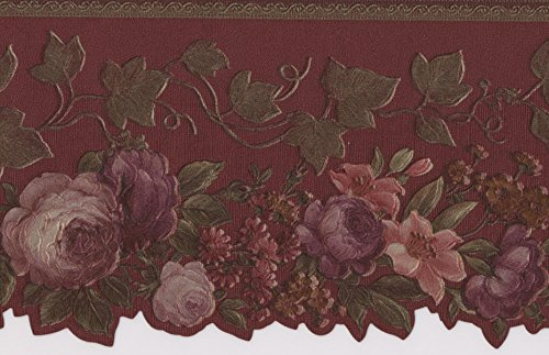 Pink Rot Lila Blooming Roses Vintage Floral Tapete Bordüre Retro Design, Rolle 15'x 10,2cm