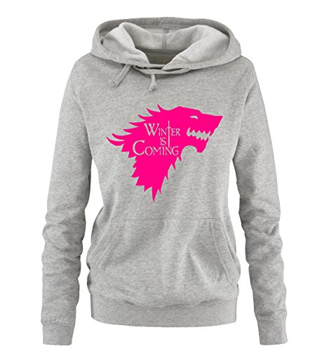 Comedy Shirts - WINTER IS COMING - II - Einfarbig - Damen Hoodie - Grau/Pink Gr. L